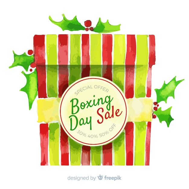Watercolor boxing day sale background Free Vector