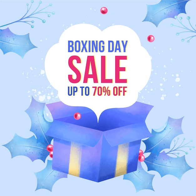Watercolor boxing day sale Free Vector