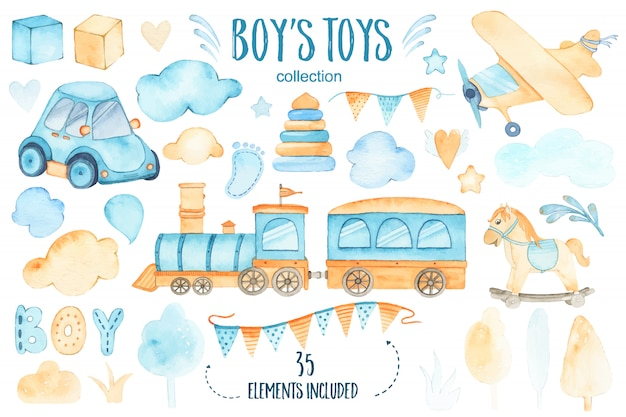 La doccia di bambino dei giocattoli dei ragazzi dell'acquerello ha messo con le nuvole della ghirlanda e degli alberi del treno dell'aeroplano dell'automobile Vettore gratuito