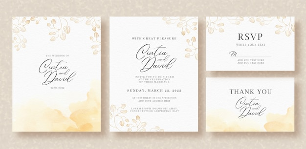 Watercolor branch on wedding invitation template Premium Vector