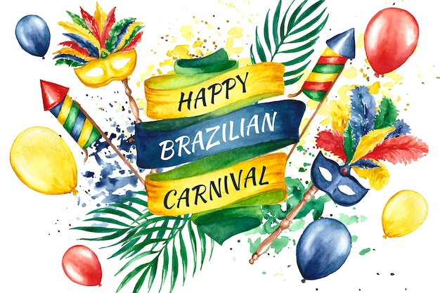Watercolor brazilian carnival with balloons Free Vector
