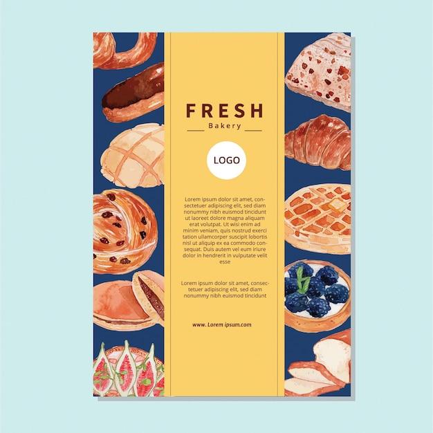 Акварельный хлеб иллюстрация флаер шаблон Premium векторы