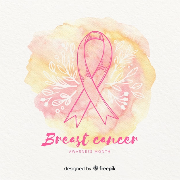 Watercolor breast cancer awareness with ribbon Free Vector