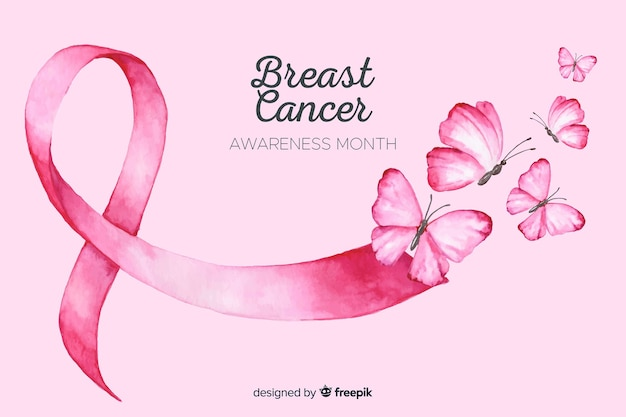 Watercolor breast cancer awareness Free Vector