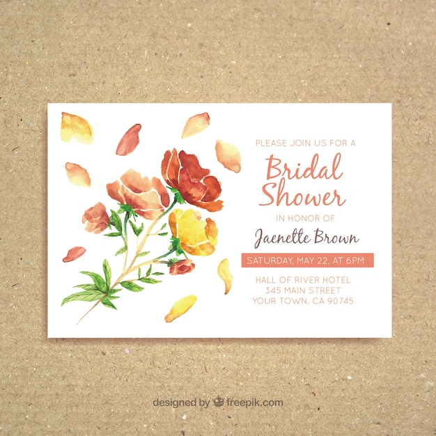 Watercolor bridal shower invitation with pretty flowers Free Vector