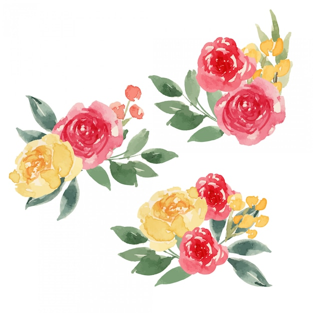 Watercolor bright red and yellow flower composition Premium Vector