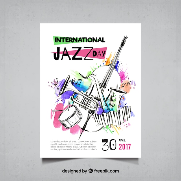 Watercolor brochure and sketches of jazz musical instruments Free Vector