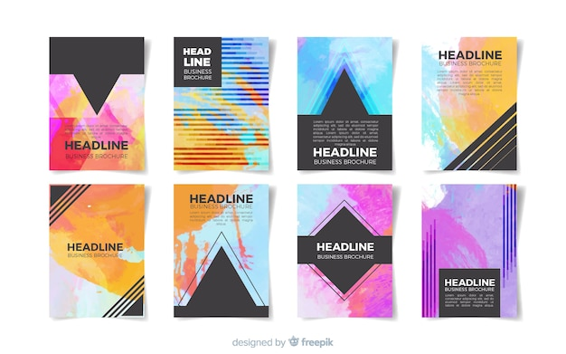 Watercolor brochure template collection Free Vector