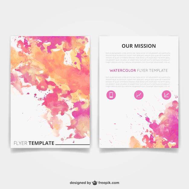 watercolor brochure template vector free download
