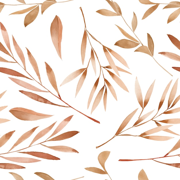 Watercolor brown branches seamless pattern Premium Vector