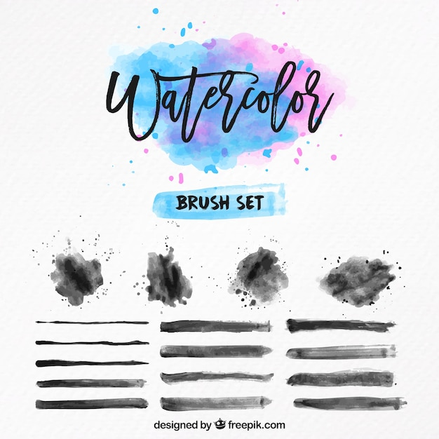 Watercolor brush set Free Vector