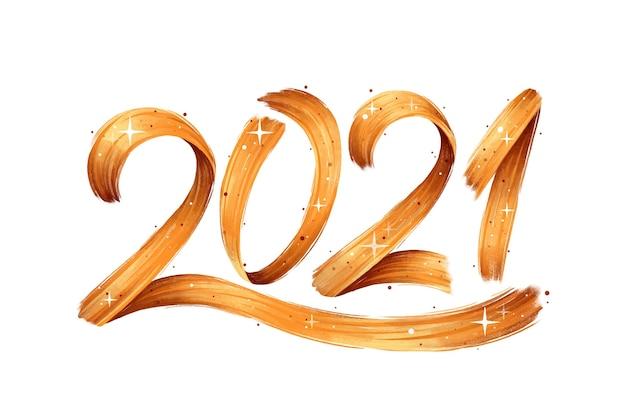Watercolor brushstroke new year 2021 background Premium Vector
