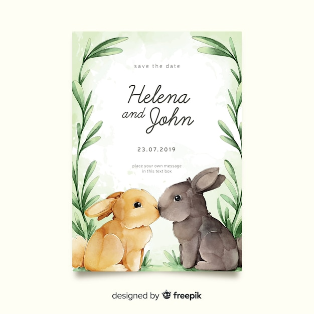 Watercolor bunnies wedding invitation template Free Vector