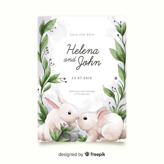 Шаблон приглашения свадебные акварельные кролики Бесплатные векторы