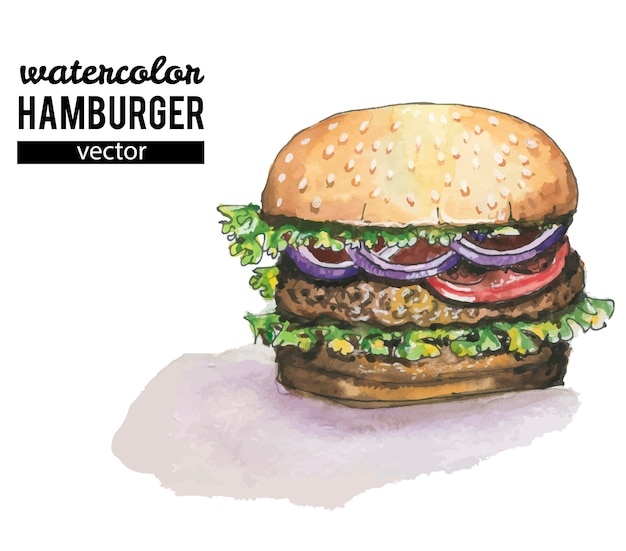 Watercolor burger on white background Premium Vector
