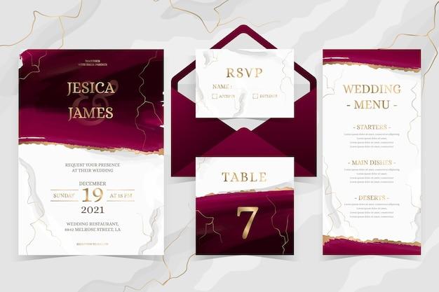 Акварельные бордовые и золотые свадебные канцелярские товары Premium векторы