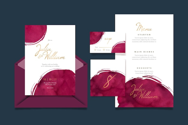 Watercolor burgundy and golden wedding stationery pack Premium Vector