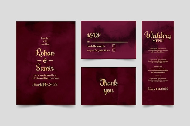 Watercolor burgundy and golden wedding stationery pack Free Vector