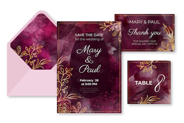 Watercolor burgundy and golden wedding stationery set Free Vector