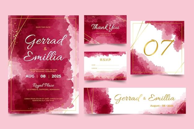 Watercolor burgundy and golden wedding stationery set Premium Vector
