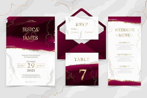 Watercolor burgundy and golden wedding stationery Premium Vector