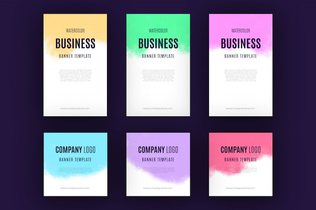 Watercolor business banner collection Free Vector