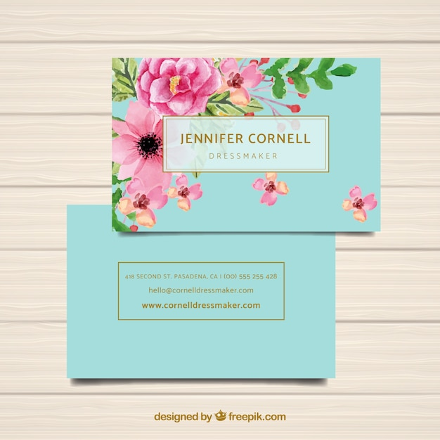 Watercolor business card template with flowers Free Vector