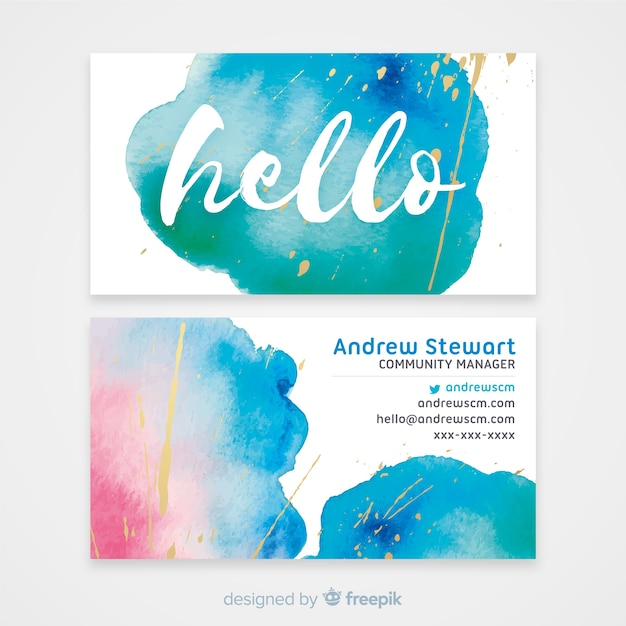 Watercolor business card template Free Vector