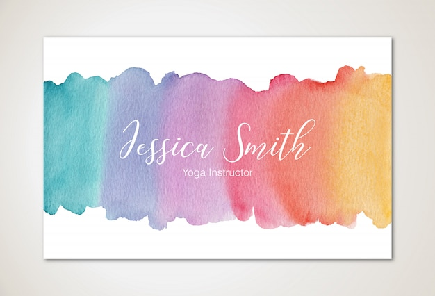 Watercolor business card template Premium Vector