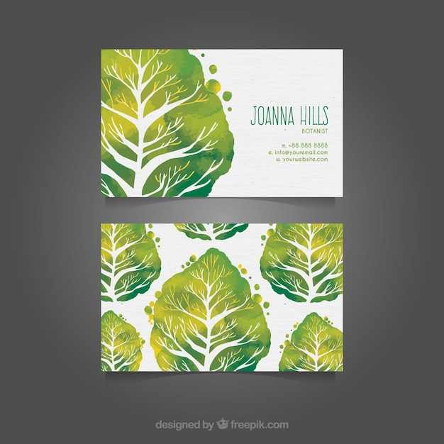 watercolor business card with green trees vector free download
