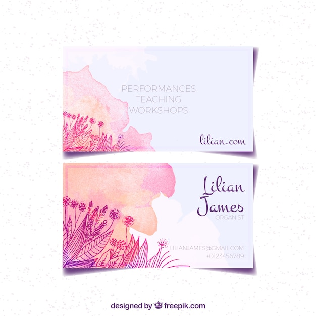 watercolor business card with sketches of flowers vector free download