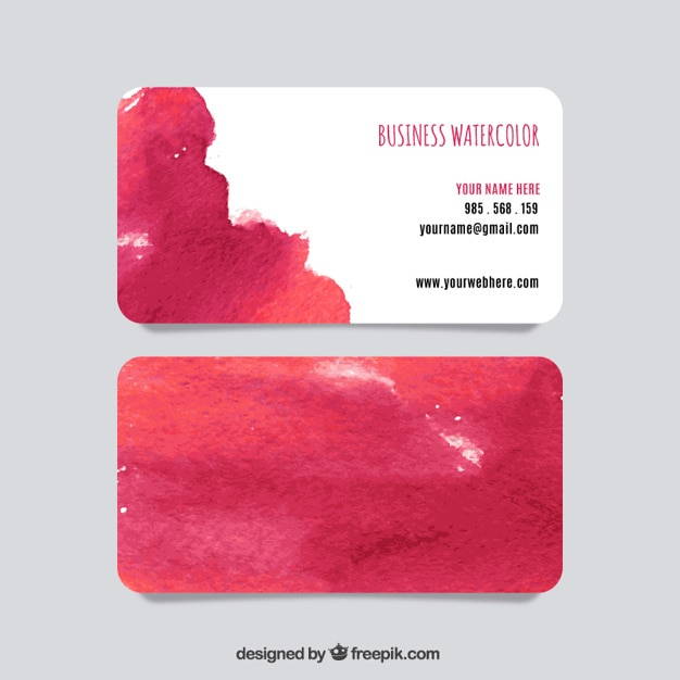 Watercolor business card Free Vector