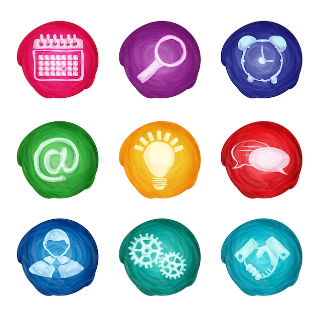 Watercolor business icons round Free Vector