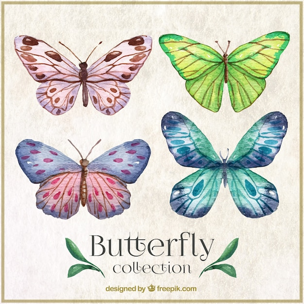 Watercolor butterflies with abstract shapes wings Free Vector