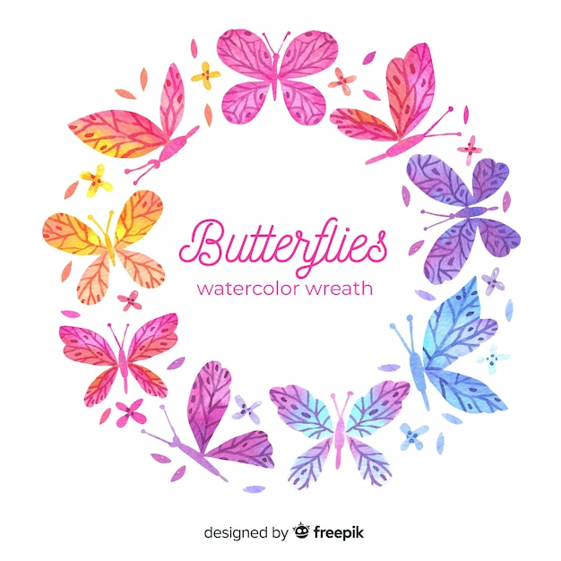 Watercolor butterflies wreath Free Vector