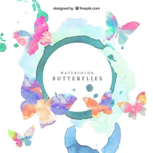 Watercolor butterflies Premium Vector