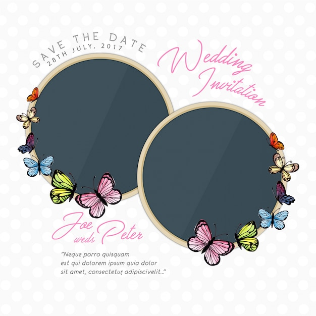 Watercolor Butterfly Wedding Invitation Card Free Vector