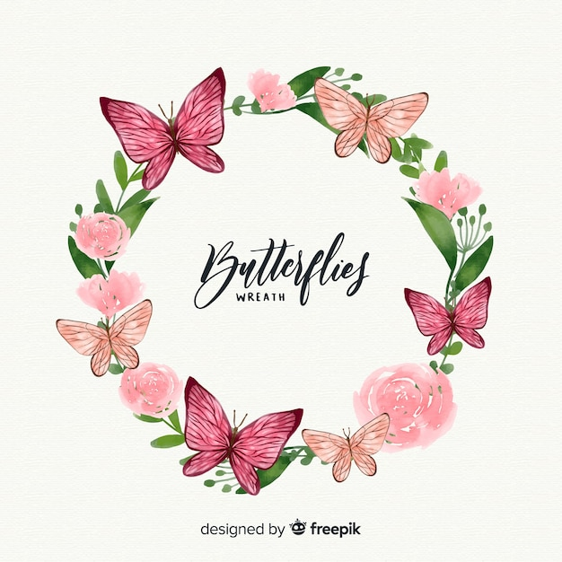Watercolor butterfly wreath Free Vector