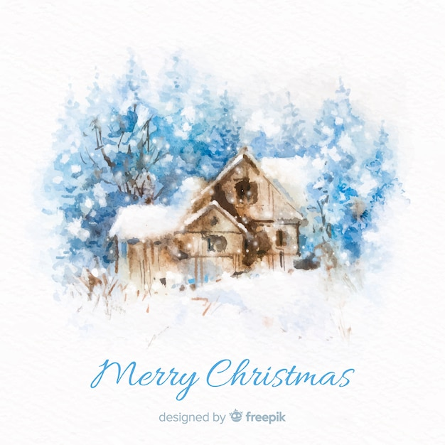 Watercolor cabin christmas background Free Vector