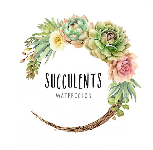 Watercolor cacti and succulents on vine wreath Premium Vector