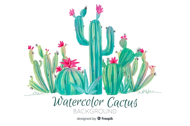 Watercolor cactus background Free Vector