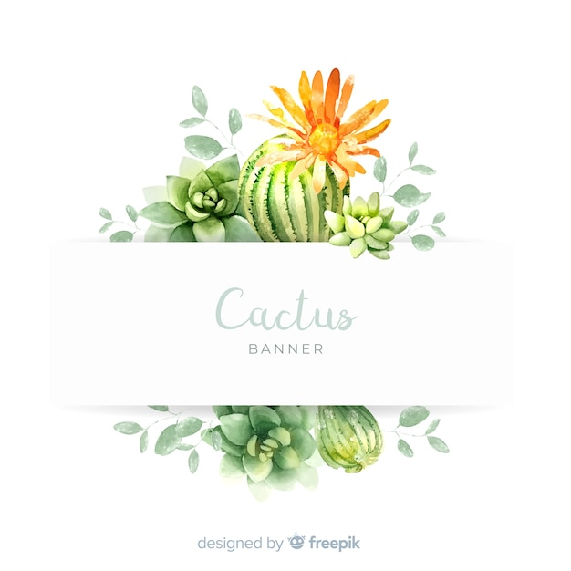 Watercolor cactus banners with blank banner Free Vector