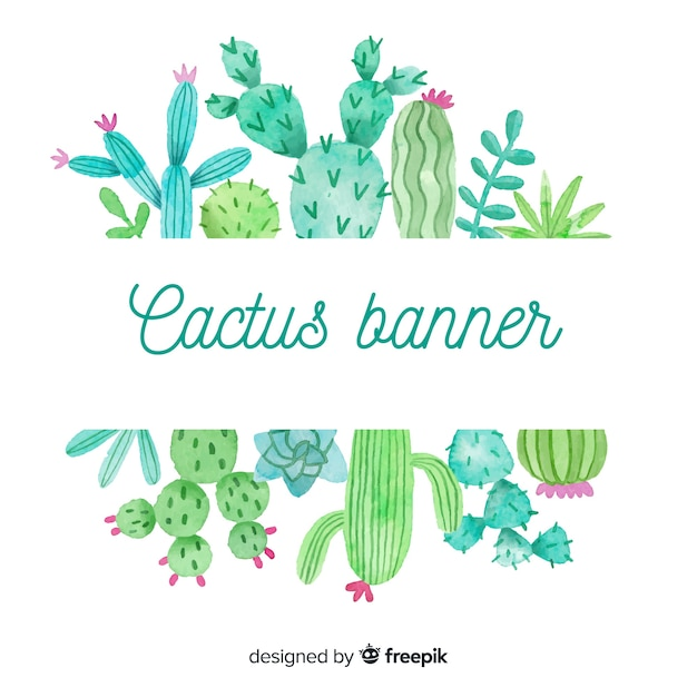 Watercolor cactus blank banner Free Vector