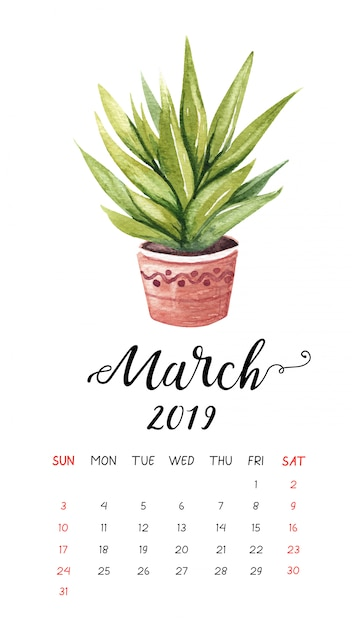 watercolor cactus calendar for march 2019  vector