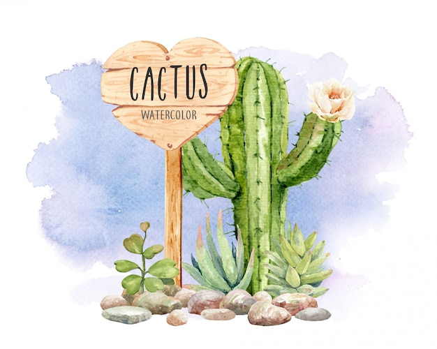 Watercolor cactus collection with sign of wood. Premium Vector