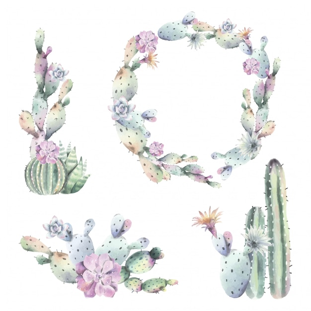 Watercolor Cactus frames and bouquets Free Vector