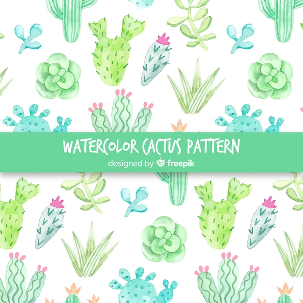 Watercolor cactus pattern Free Vector