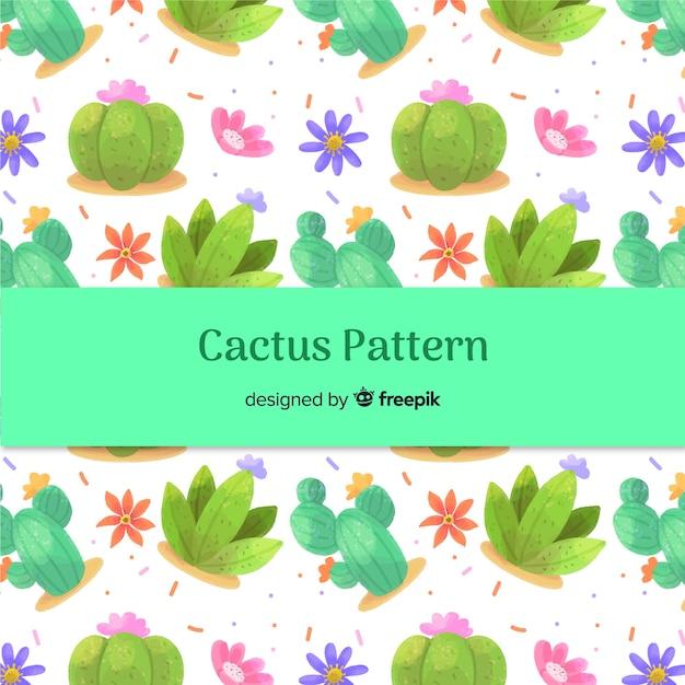 Watercolor cactus pattern Free Vector