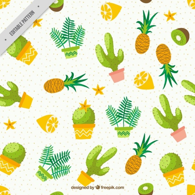 Watercolor Cactus With Fruits Pattern Free Vector