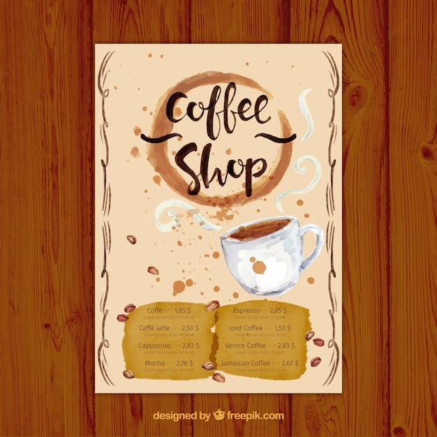 Watercolor cafe menu Free Vector
